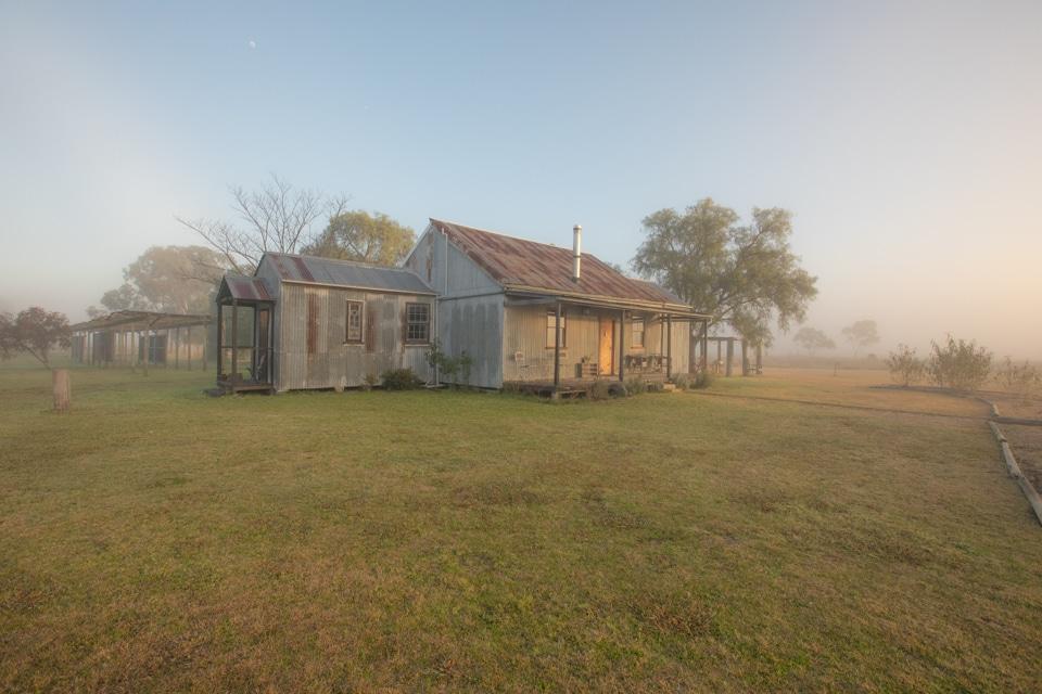 Broke Estate cottage front foggy